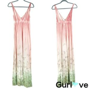 Gypsy 05 Coral Gold Ombre Maxi Dress Size S